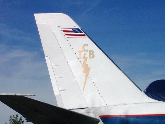 Lightning Bolt on Tail of Lisa Marie Airplane