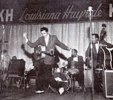 Elvis performing at the Louisiana Hayride