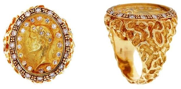 Gold and Diamond Julius Caesar Ring