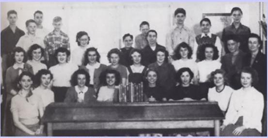Group Picture in Humes High Library (1950) - Elvis Top Right