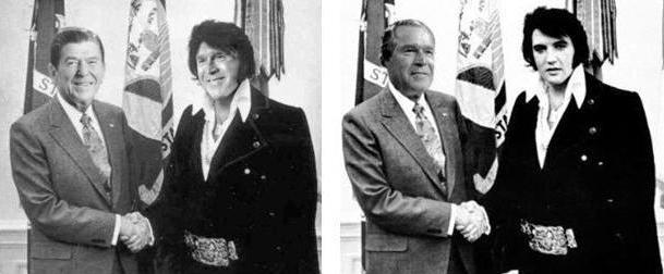 Reagan and Bush  --  Bush and Elvis