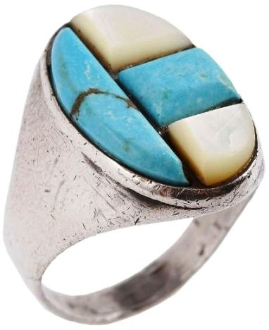 Turquoise and Opalescent Ring