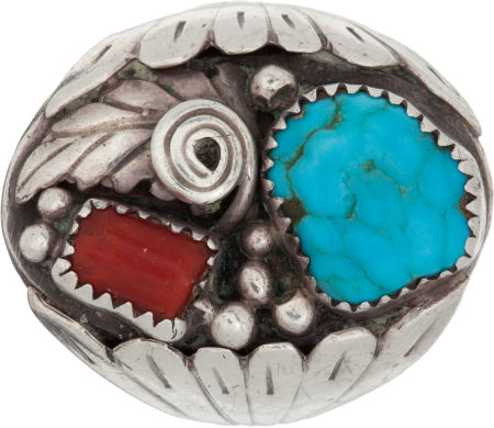 Turquoise, Red Coral, and Sterling Silver Ring Lot 46088