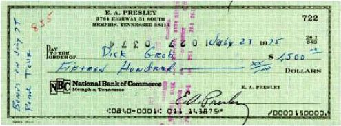 Elvis Presley Signed Personal Check to Dick Grob 1975