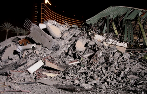 New Frontier Hotel lies in rubble after it was demolished