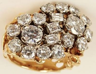 8 ct. Diamond & Gold Nugget Ring