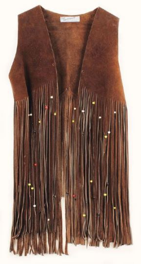 Beaded Fringe Suede Vest