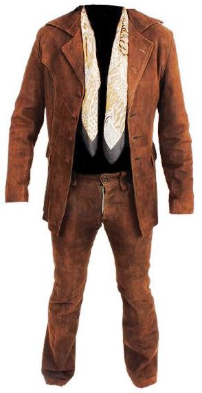 Brown Suede Jacket and Pants With Scarf
