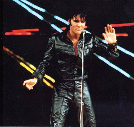 Elvis 68 Special Black Leather  Suit  - Front
