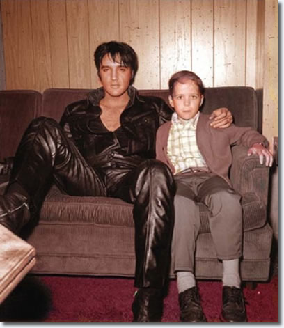 Elvis Backstage in Black Leather Suit