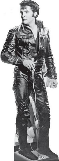 Elvis Black Leather Standee