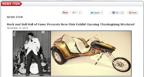 Elvis.Com -  Announcement of Rock & Roll Hall of Fame Exhibition