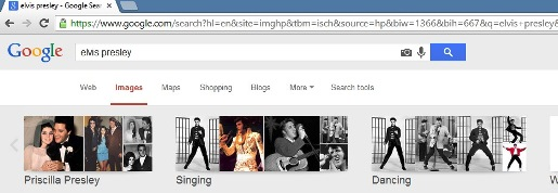 Google Images search for Elvis