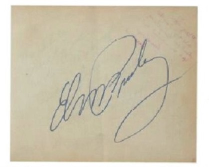 Blow Up of Elvis' Autograph in Fan Book