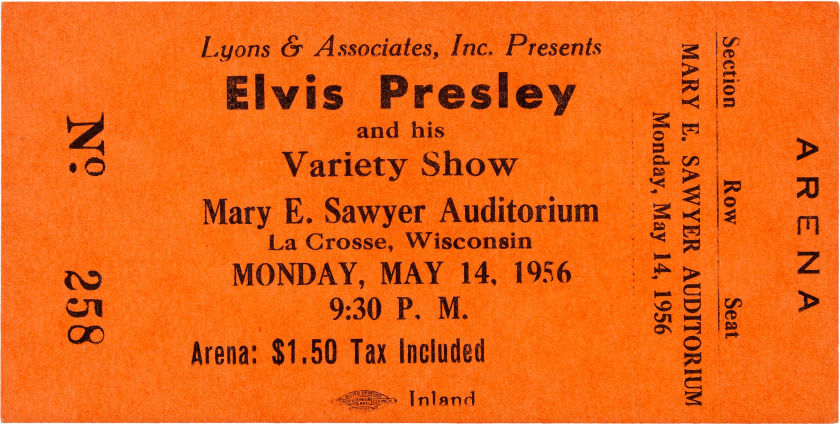 Ticket for Elvis concert in La Crosse, Wisconsin, 1956