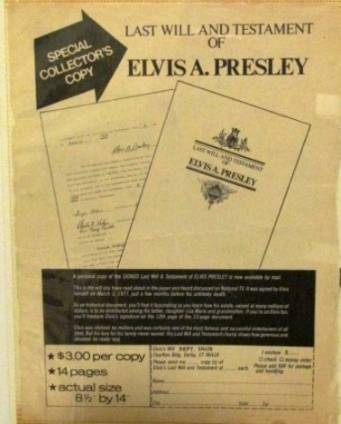 Elvis Will Order Form