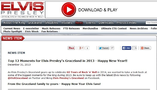Top 12 Moments for Elvis Presley's Graceland in 2013