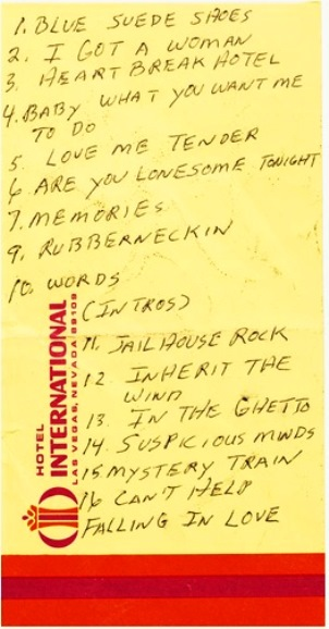 Elvis Set List from International Hotel Show
