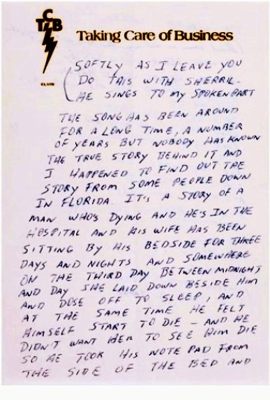 Elvis' Spoken-Word Lyrics for Softly As I Leave