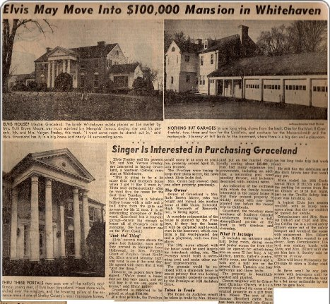 Newspaper Article about Elvis Buying Graceland