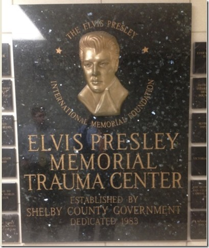 Brass Plaque of Elvis at Trauma Center Wall of Honor