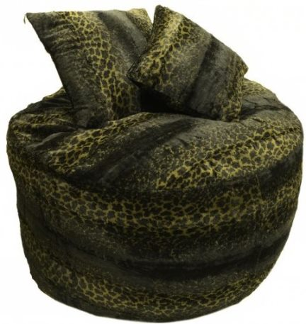 Elvis' Faux Fur Bean Bag Chair and Two Pillows