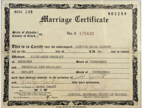 Elvis and Priscilla's Marriage Certificate