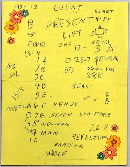 Two Pages of Notes by Elvis on Numerology