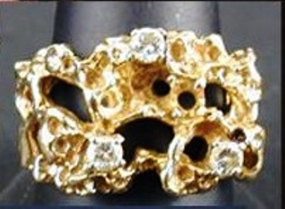 Elvis' Gold Nugget and Diamond Ring