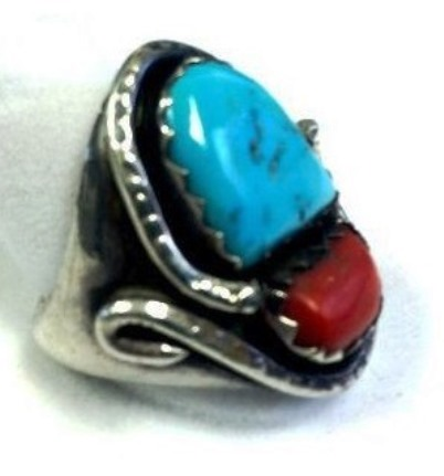 Elvis' Turquoise and Coral Ring