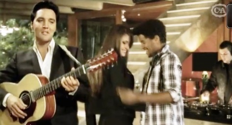 Elvis Walking Past Couple with Guitar in C&A Ad