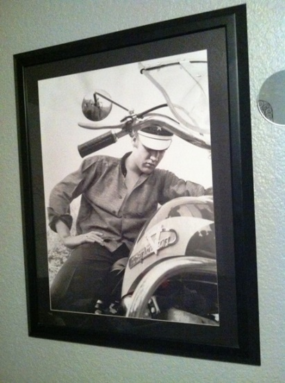 Franed Copy of Elvis on his Harley