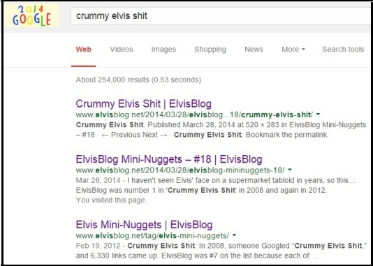 Google Top 3 for Crummy Elvis Shit