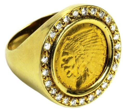 Elvis' 1914 Indian Head Gold 2½-Dollar Coin and Diamond Ring