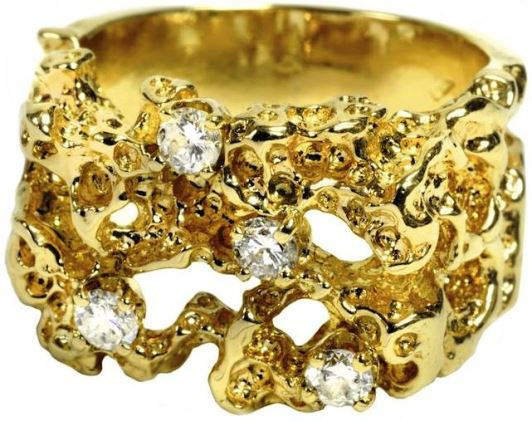 Elvis' Gold Nugget-Style Diamond Ring