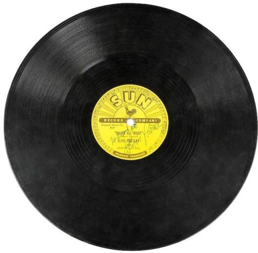 Elvis Presley's First Sun Record, 78 RPM Signed