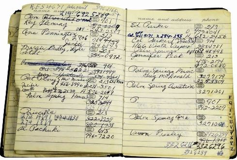 nside pages Elvis Presley's Personal Address Books