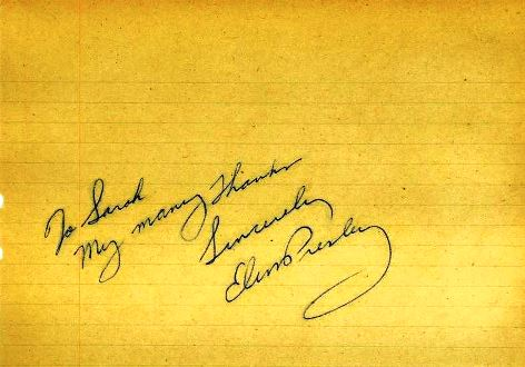 Elvis-Signed Note to a Fan