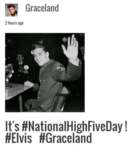 Graceland.com Salute o National High-Five Day
