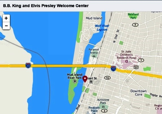 B. B. King and Elvis Presley Welcome Center Map
