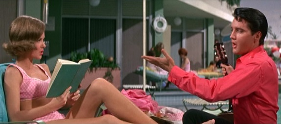 Elvis Wearing Long-Sleeve Shirt at Pool - Girl Happy.
