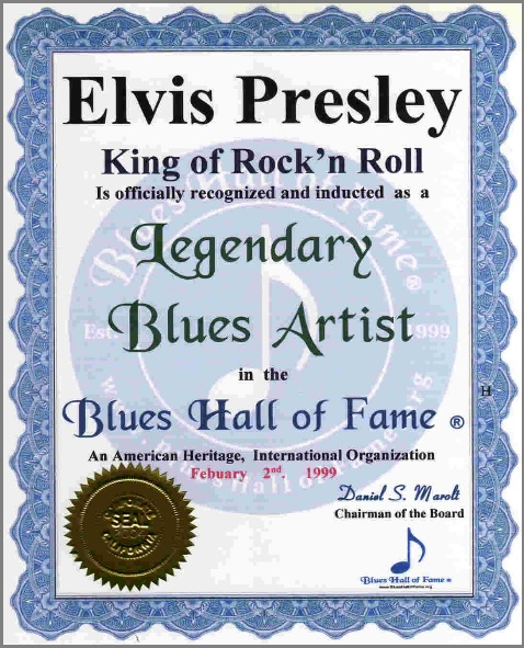 Elvis Certificate - Blues Hall of Fame