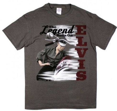 Elvis the Legend Rolls on Motorcycle T-Shirt