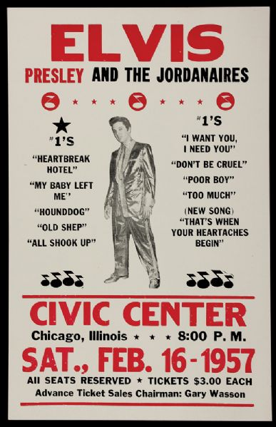 1957 Elvis Concert Poster Reproduction