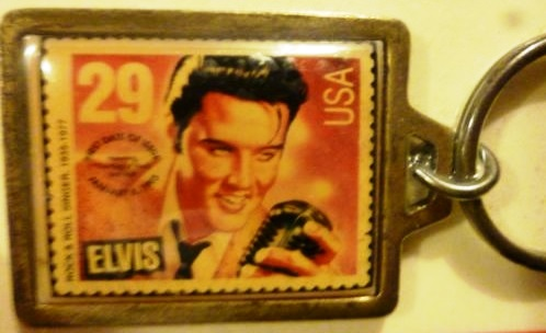 Elvis Stamp Key Chain