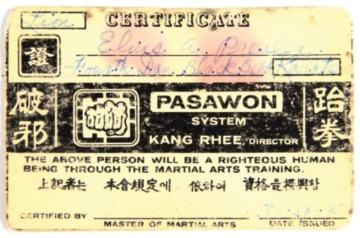 1971 Elvis Presley Signed Martial Arts Card with Fingerprints