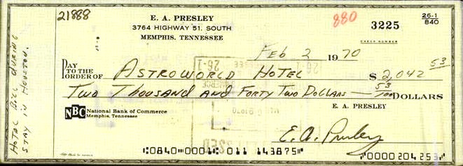 Elvis Check to Astroworld Hotel