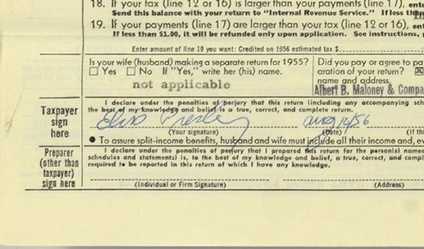 Elvis Presley Signed 1955 Tax Return - Close-up