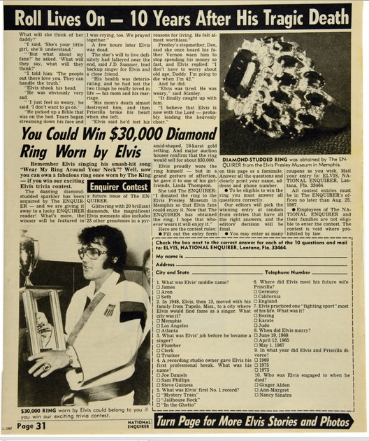 Elvis Ring Contest in National Enquirer
