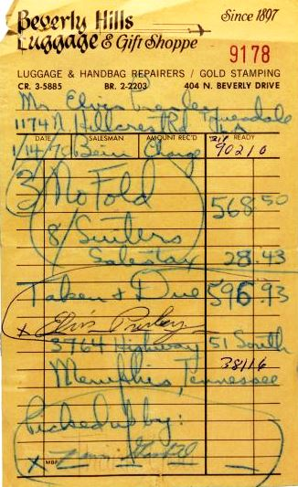 Receipt for Elvis' Luggage, Personal Effects and Signed Purchase ...